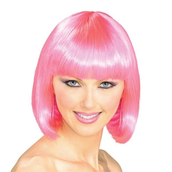 スーパーモデル ウィッグ、かつら ピンク 女性用 ショート ボブ